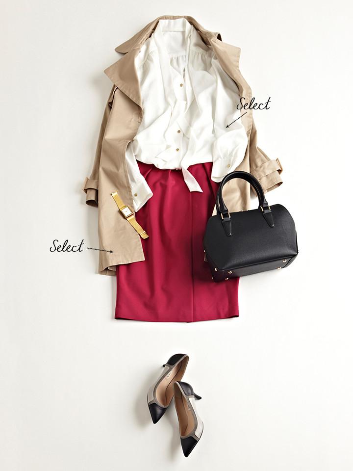 「ボウタイブラウス×ヴィヴィッドカラースカートの甘めスタイルも、シックな色使いのバッグやパンプスを合わせて大人っぽく引き締めれば、通勤シーンにも◎。どんな着こなしにもマッチするトレンチコートは、春先も大活躍」(スタイリスト・坂野陽子さん)