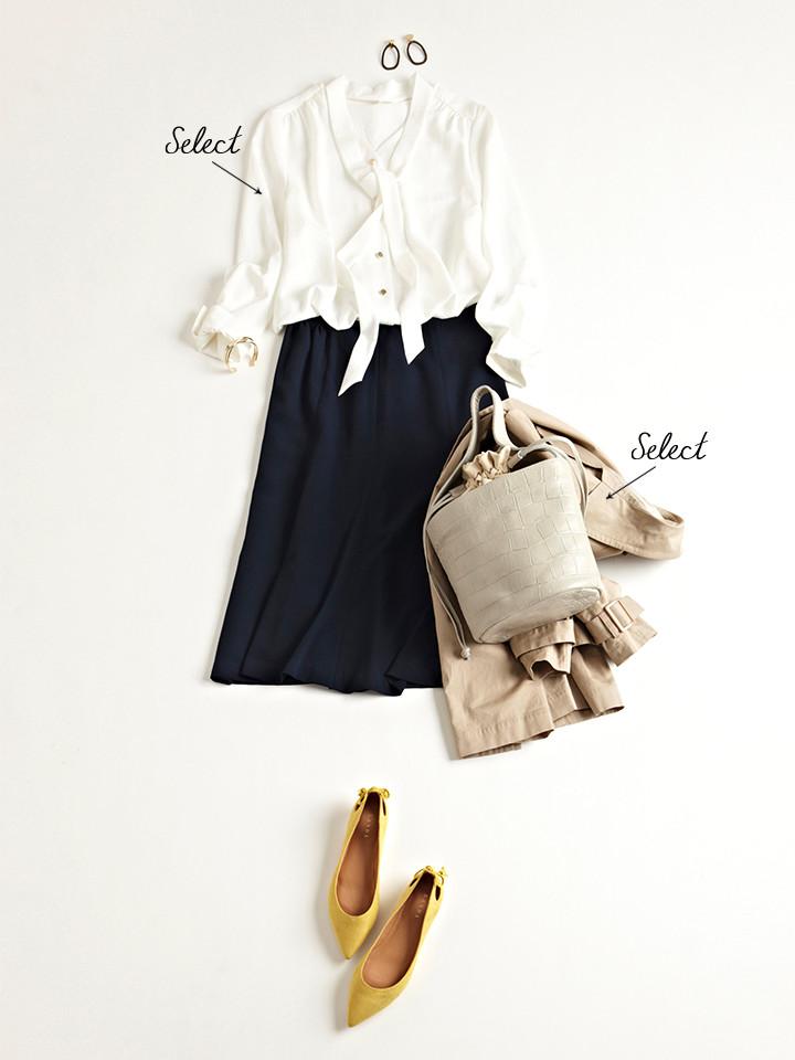 「通勤から学校行事まで、誰からも褒められるノーブルな着こなしは、ボウタイブラウスとネイビースカートで決まり。明るめカラーのイエローパンプスで足元に今っぽさをプラスすれば、技あり感もアピールできそう」(スタイリスト・坂野陽子さん)