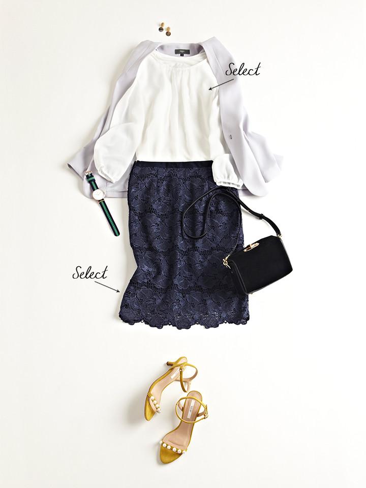 「フェミニンさ香るシフォンブラウスは、ノーカラージャケットとシックな色味のスカートで程よく甘さを引き算。大人っぽさをキープしつつもさりげなく可憐な着こなしは、特別なディナーなどのオケージョンにも活躍します」(スタイリスト・坂野陽子さん)