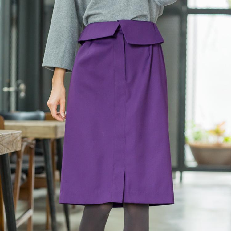 ウエストデザインひざ丈スカート