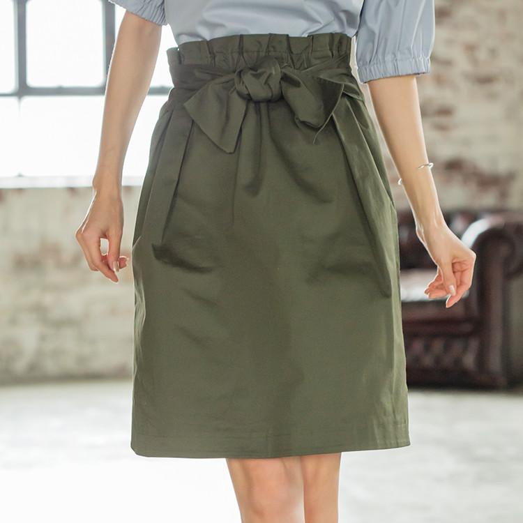 ウエストリボン膝丈スカート