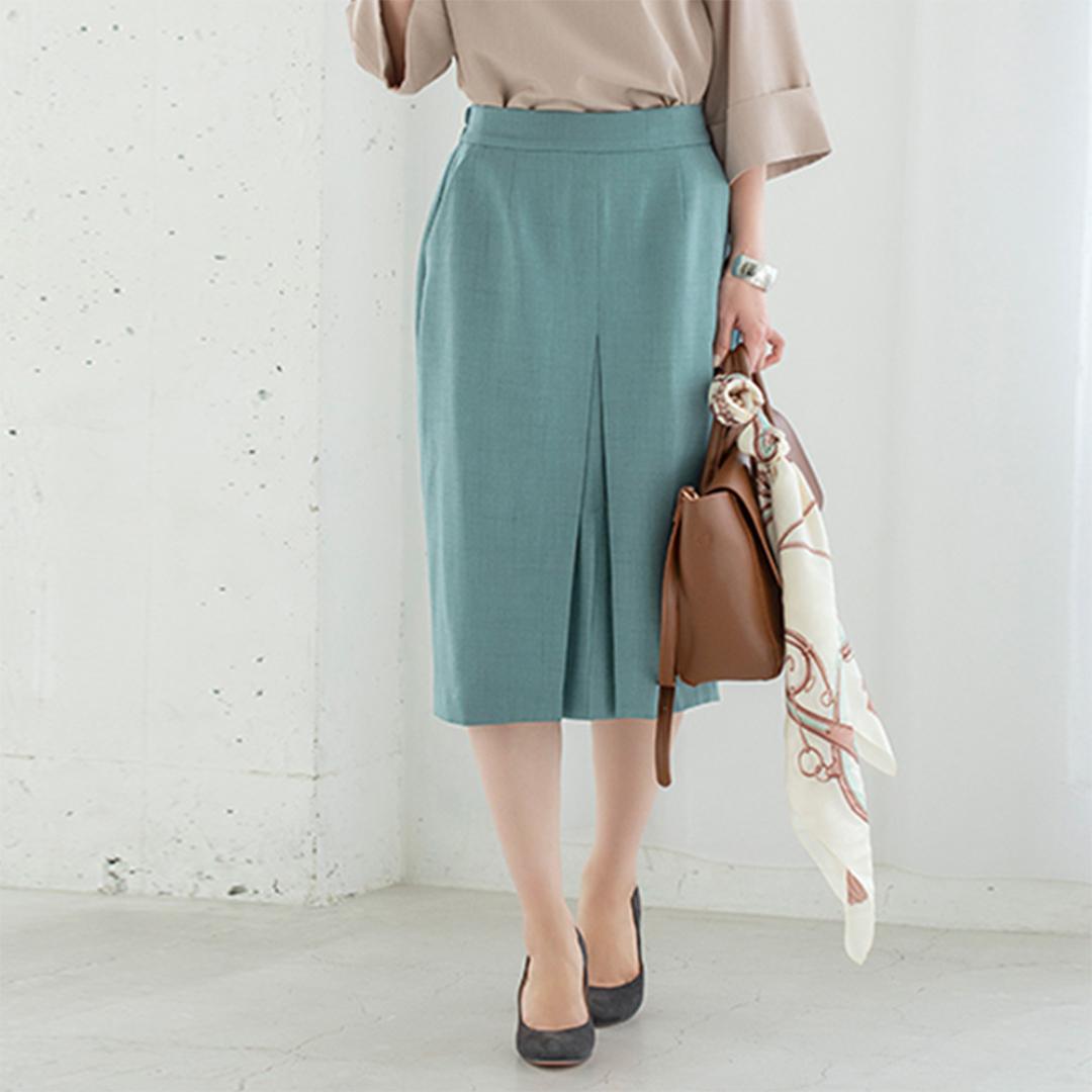 ライトブルータックタイトスカート