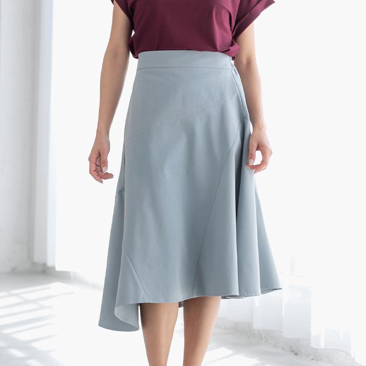 グレイッシュブルーアシメトリースカート