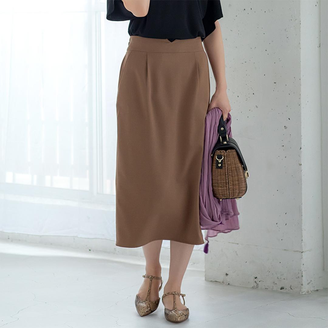 モカブラウンロングタイトスカート