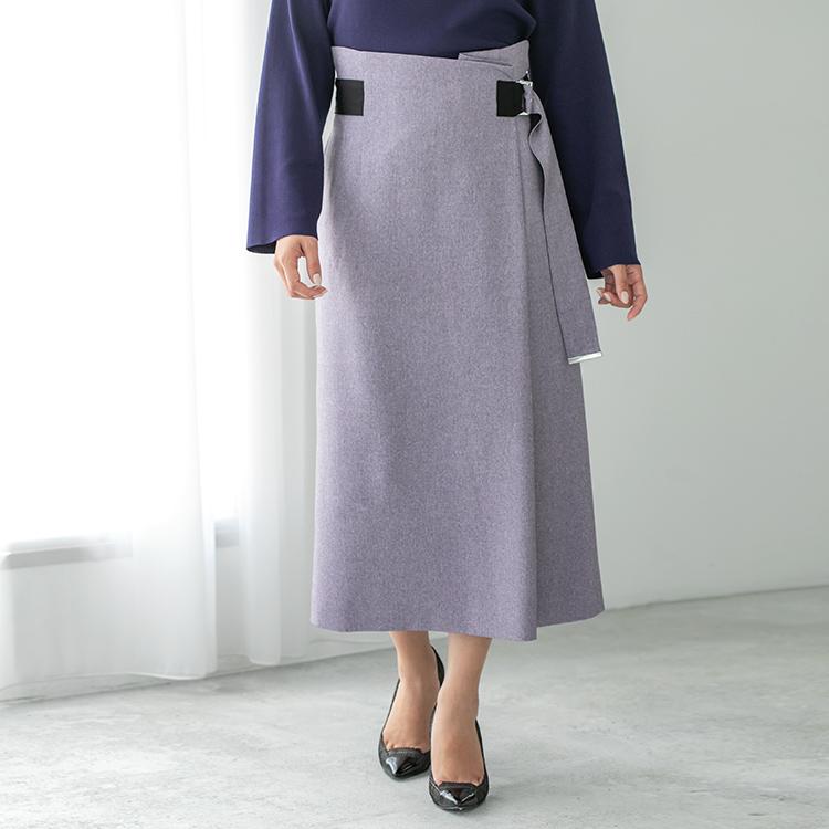 グレイッシュラベンダーラップ風スカート