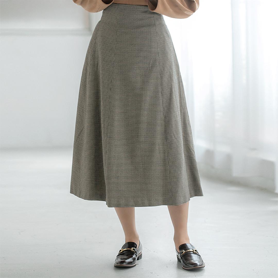 千鳥格子フレアスカート