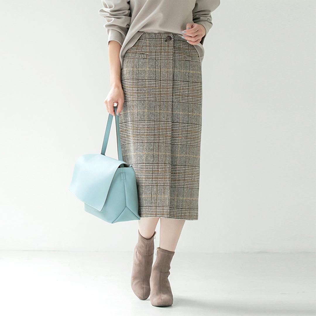 フロントポケットチェックタイトスカート