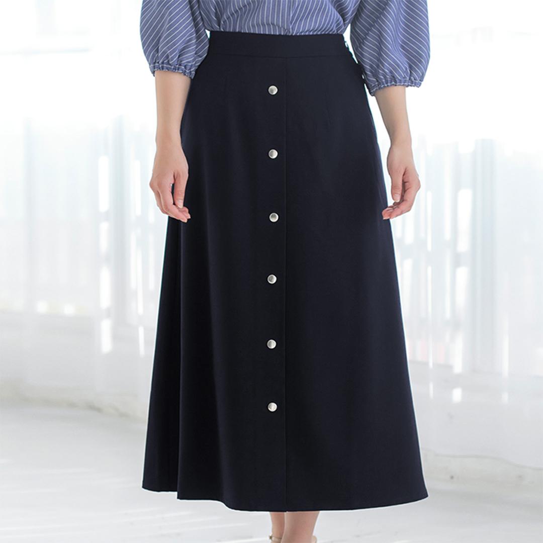 フロントボタンアクセントAラインスカート