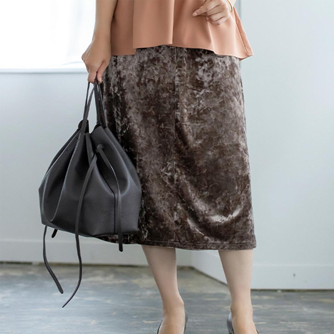 クラッシュベロアセミタイトスカート