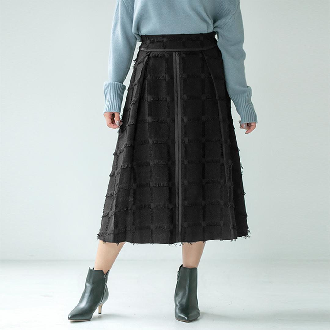 カットジャガードパイピングスカート
