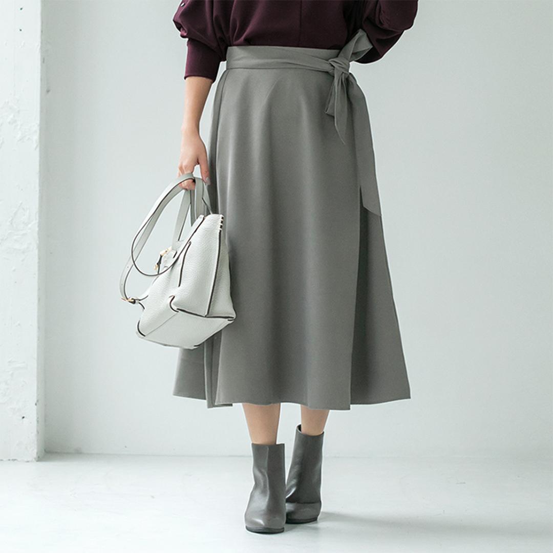 グレイッシュカーキフレアスカート