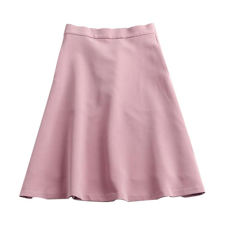 パウダーピンクミモレ丈スカート