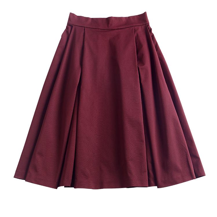 ボルドーミモレ丈スカート
