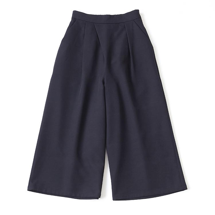 スカート見えネイビーワイドパンツ