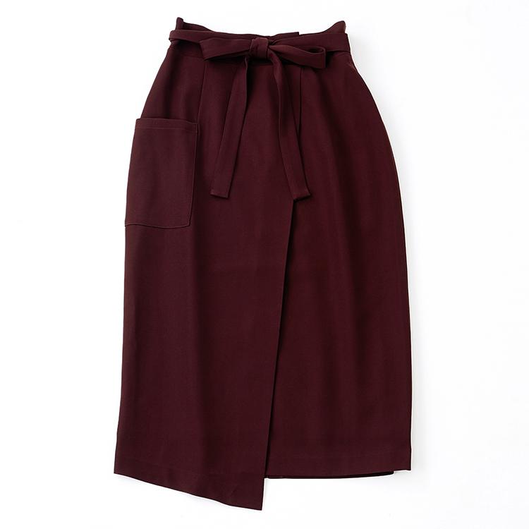 ウエストリボンラップ風スカート