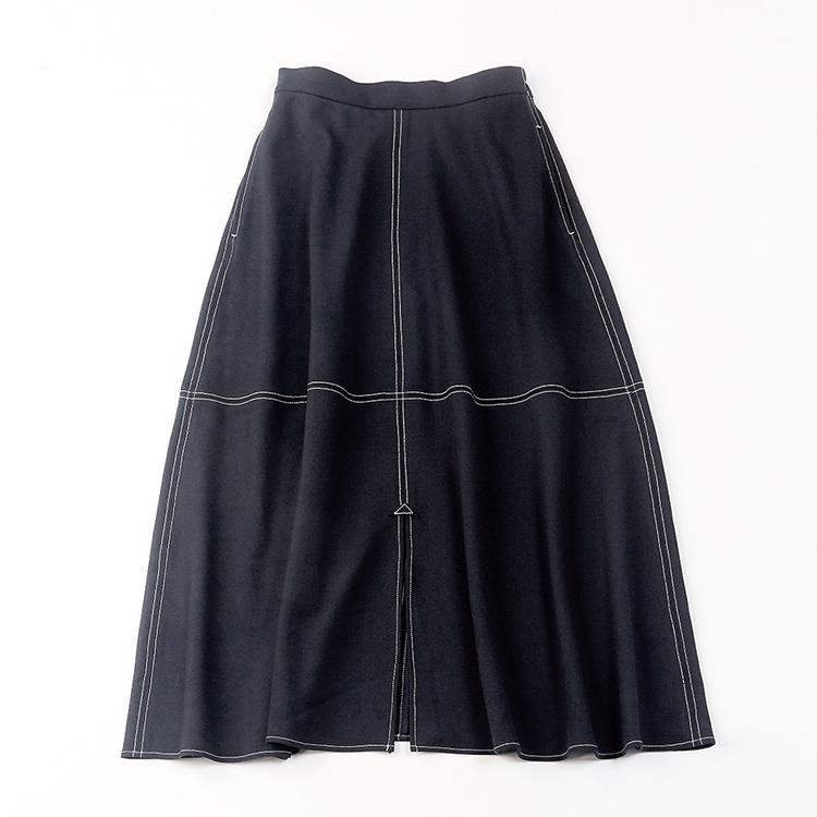 配色ステッチマキシスカート