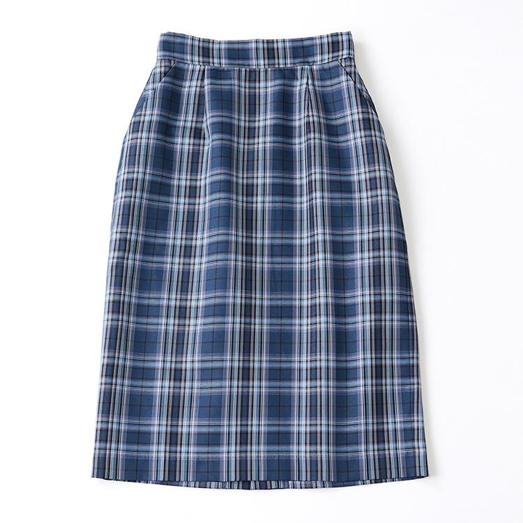 ブルートーンチェックタイトスカート