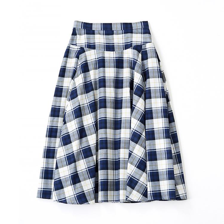 ブルーチェックフレアスカート
